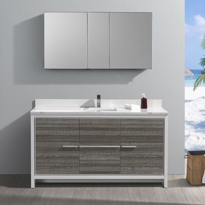 "Fresca Allier Rio 60"" Ash Grey Single Sink Modern Bathroom Vanity w/ Medicine Cabinet"
