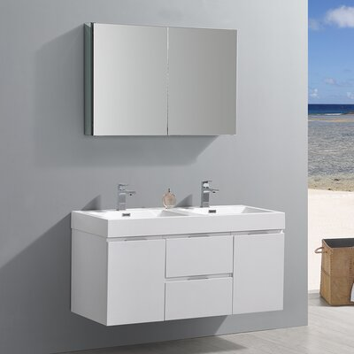 "Fresca Valencia 48"" Dark Slate Grey Wall Hung Double Sink Modern Bathroom Vanity w/ Medicine Cabinet"