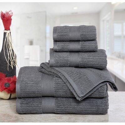 Huggins Cotton 6 Piece Bath Towel Set Color: Gray