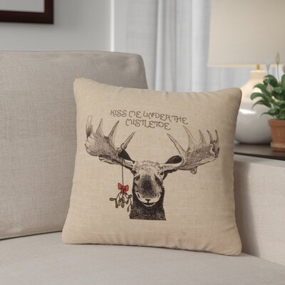 Albury Mistletoe Moose Throw Pillow Color: Natural