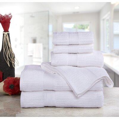 Huggins Cotton 6 Piece Bath Towel Set Color: White