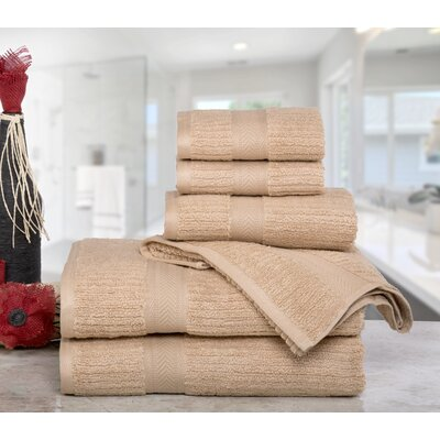 Huggins Cotton 6 Piece Bath Towel Set Color: Latte