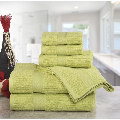 Huggins Cotton 6 Piece Bath Towel Set Color: Celery Green