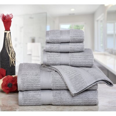 Huggins Cotton 6 Piece Bath Towel Set Color: Silver
