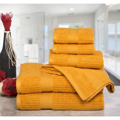 Huggins Cotton 6 Piece Bath Towel Set Color: Sunflower