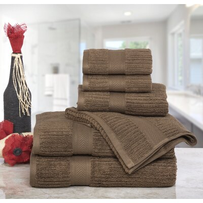 Huggins Cotton 6 Piece Bath Towel Set Color: Coffee
