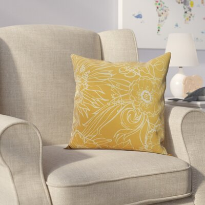 Jarred Floral Print Indoor/Outdoor Throw Pillow Color: Gold, Size: 20 x 20
