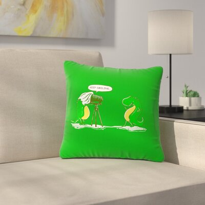 BarmalisiRTB Keep Smiling Illustration Outdoor Throw Pillow Size: 16 H x 16 W x 5 D
