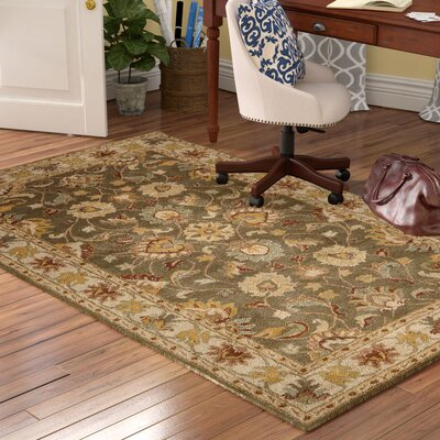Arden Sage Hand-Woven Wool Area Rug Rug Size: Wedge 2 x 4