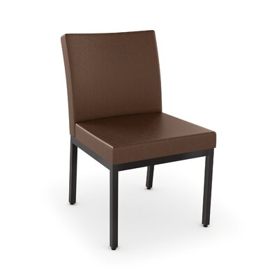 Driggers Upholstered Dining Chair Upholstery Color: Brown/Dark Brown