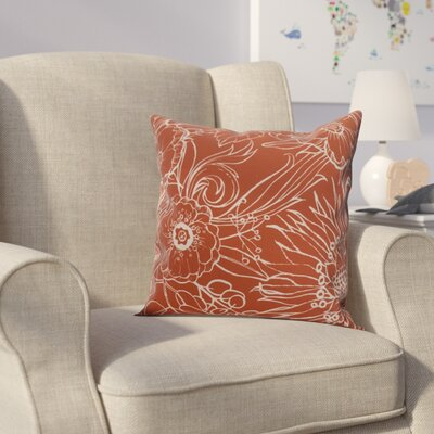 Derick Floral Print Throw Pillow Color: Red-Orange, Size: 20 x 20
