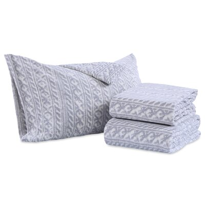 Knit Print Microfleece Sheet Set Size: King, Color: Gray