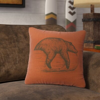 Nailwell Bear On A Log Throw Pillow Color: Paprika
