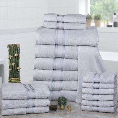 Prim 100% Combed Cotton�Zero-Twist�18 Piece Towel�Set Color: Glacier Grey