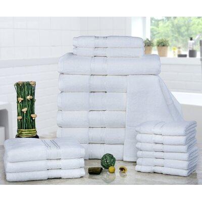 Prim 100% Combed Cotton�Zero-Twist�18 Piece Towel�Set Color: White