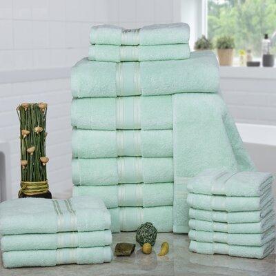 Prim 100% Combed Cotton�Zero-Twist�18 Piece Towel�Set Color: Jade