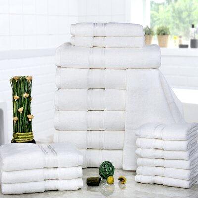 Prim 100% Combed Cotton�Zero-Twist�18 Piece Towel�Set Color: Ivory