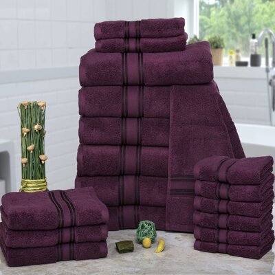 Prim 100% Combed Cotton�Zero-Twist�18 Piece Towel�Set Color: Burgundy