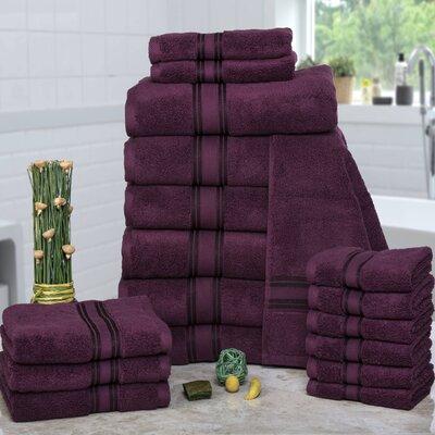 Prim 100% Combed Cotton�Zero-Twist�18 Piece Towel�Set Color: Burgundy