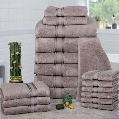 Prim 100% Combed Cotton�Zero-Twist�18 Piece Towel�Set Color: Taupe