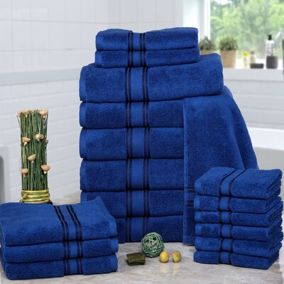 Prim 100% Combed Cotton�Zero-Twist�18 Piece Towel�Set Color: Navy