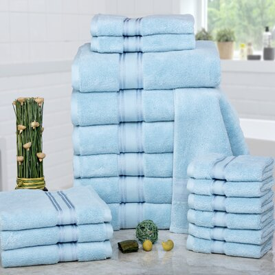 Prim 100% Combed Cotton�Zero-Twist�18 Piece Towel�Set Color: Blue