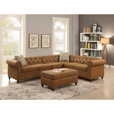 Henking Modular Sectional with Ottoman Upholstery: Brown