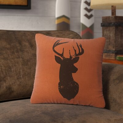 Lansford Deer Head Silhouette Throw Pillow Color: Paprika