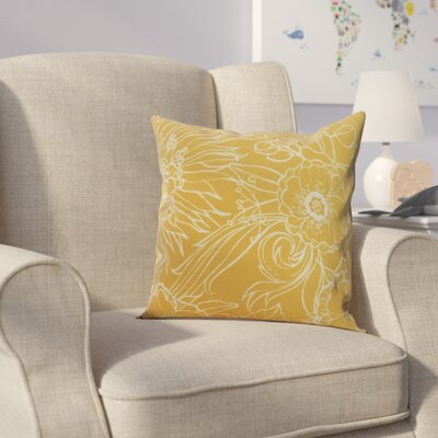 Derick Floral Print Throw Pillow Color: Gold, Size: 16 x 16