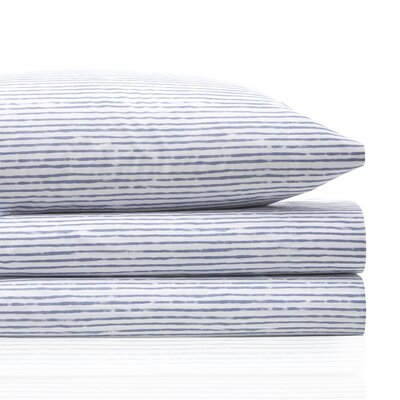 Vauxhall Stripe 200 Thread Count 100% Cotton Sheet Set Size: Queen, Color: Blue