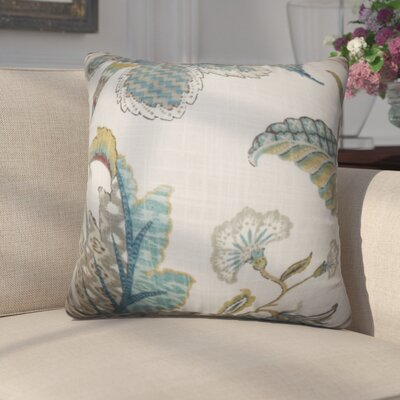 Edlin Floral Cotton Throw Pillow Color: Chambray