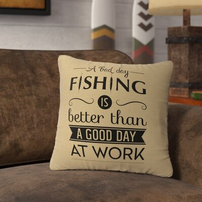 Neale Fishing Day Throw Pillow Color: Straw