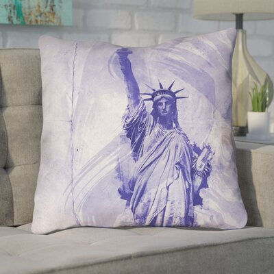 Houck Blue Watercolor Statue of Liberty Cotton Throw Pillow