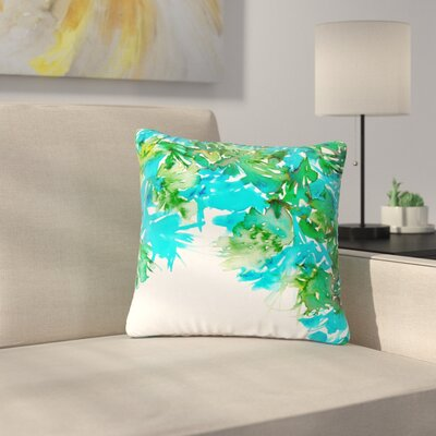 Ebi Emporium Floral Cascade Outdoor Throw Pillow Size: 18 H x 18 W x 5 D, Color: Teal