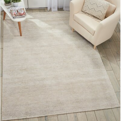 Romans Solid Hand-Tufted Vapor Ivory Area Rug Rug Size: Rectangle 53 x 75