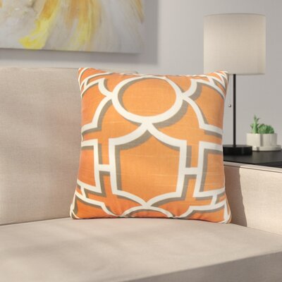 Kenn Geometric Square Cotton Throw Pillow Color: Persimmon, Size: 18 x 18
