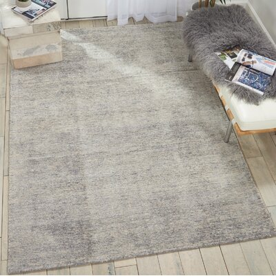 Romans Solid Hand-Tufted Silver Birch Area Rug Rug Size: Rectangle 53 x 75