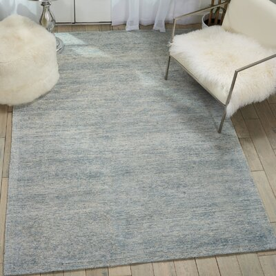 Romans Solid Hand-Tufted Aquamarine Blue Area Rug Rug Size: Rectangle 53 x 75