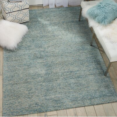 Romans Solid Hand-Tufted Seafoam Blue Area Rug Rug Size: Rectangle 53 x 75