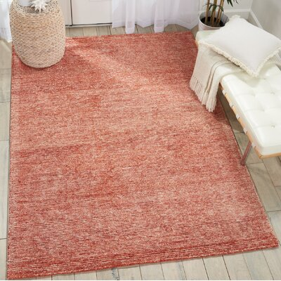 Romans Solid Hand-Tufted Brick Area Rug Rug Size: Rectangle 8 x 106