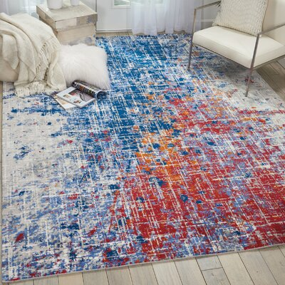 Majors Abstract Red/Blue Area Rug Rug Size: Rectangle 56 x 8