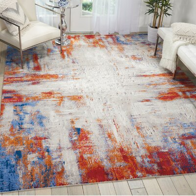 Makela Abstract Ivory/Blue/Red Area Rug Rug Size: Rectangle 56 x 8