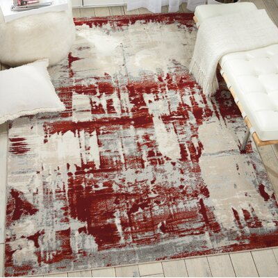 Heeter Ivory/Red Area Rug Rug Size: Runner 22 x 76