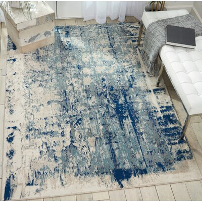 Heffington Abstract Ivory/Blue Area Rug Rug Size: Rectangle 93 x 129