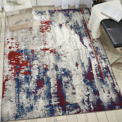 Heffernan Abstract Ivory/Blue/Red Area Rug Rug Size: Rectangle 310 x 510