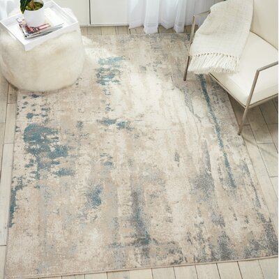 Heffron Ivory/Teal Area Rug Rug Size: Rectangle 93 x 129