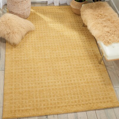 Dove Solid Hand-Woven Wool Gold Area Rug Rug Size: Rectangle 5 x 76