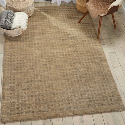 Dove Solid Hand-Woven Wool Latte Area Rug Rug Size: Rectangle 39 x 59