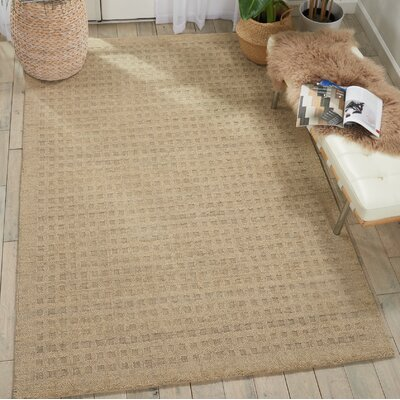 Dove Solid Hand-Woven Wool Taupe Area Rug Rug Size: Rectangle 39 x 59