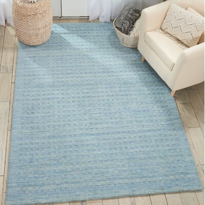Dove Solid Hand-Woven Wool Sky Blue Area Rug Rug Size: Rectangle 66 x 96